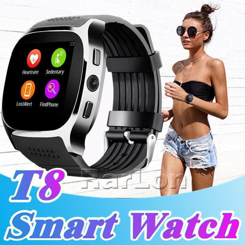 T8 Smart Watch Pedometer Uhren Support SIM TF-Karte mit Kamera Sync Anrufnachrichten Männer Frauen Smartwatch für Android