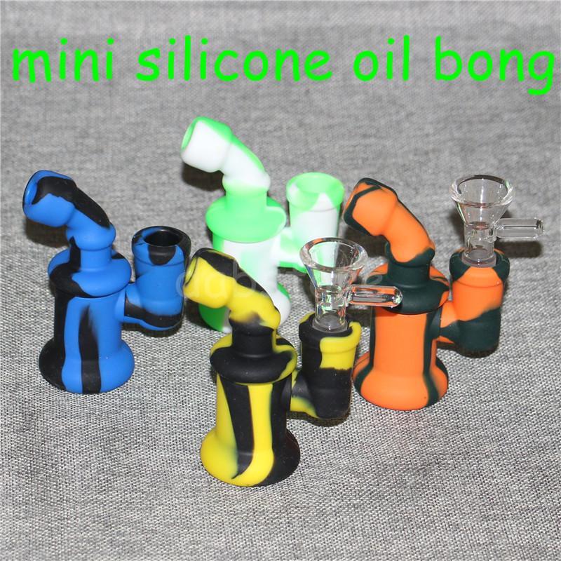 5pcs Silicone Oil Burner Bubbler eau Bong pipe petits brûleurs pipes bubbler dab rigs Plateforme de forage pour fumer mini bécher enivrante Bongs