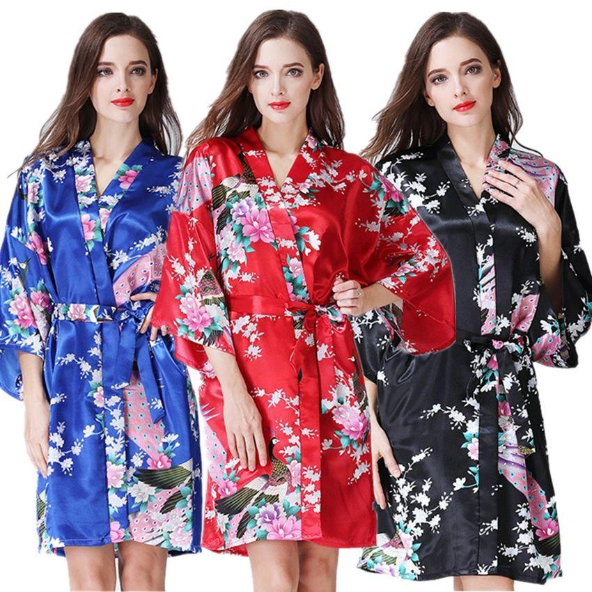 Женщины старинные японские кимоно платье кружева - до колен атласная купальный халат сна пижамы Женские женщины юката Павлин печати