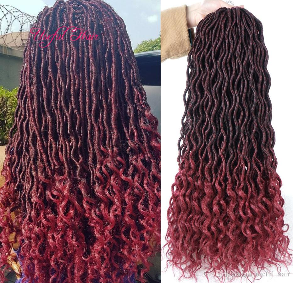 18inch Crochet Goddess Locs synthetic Hair Extensions Faux Locs Curly Crochet Braids Ombre Kanekalon Braiding Hair Bohemian locks MARLEY