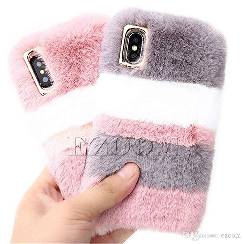 New Designer Fluffy Rabbit Fur Silicon TPU Case Protective Back Cover For Apple iPhone XS MAX XR X 6 6s 7 7plus 8