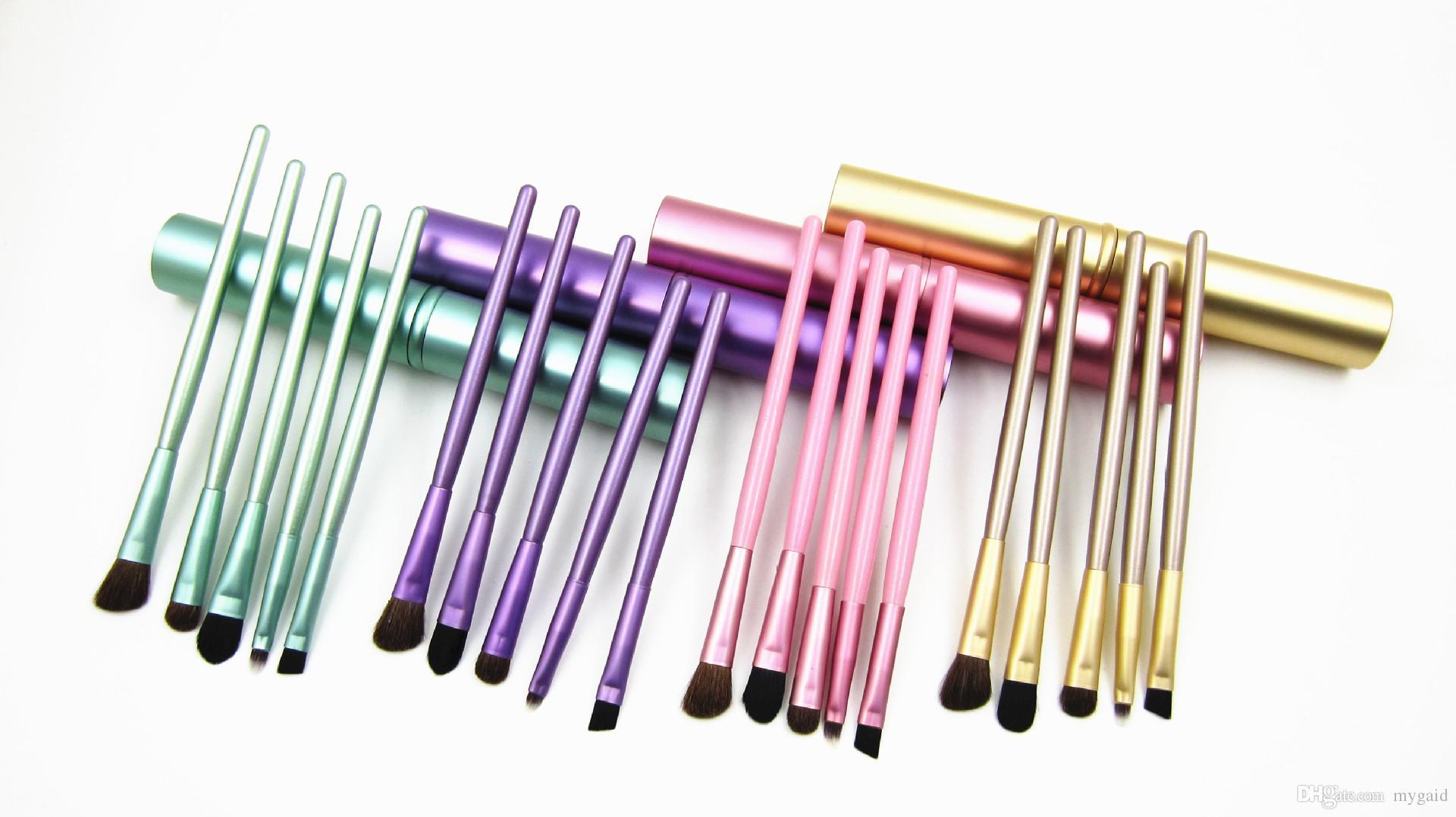 5 teile / satz Professionelle Pony Haar Lidschatten Pinsel Set Make-Up Pinsel Für Augen Make-Up Tool Kit Mit Rundrohr CCA7441 50 satz