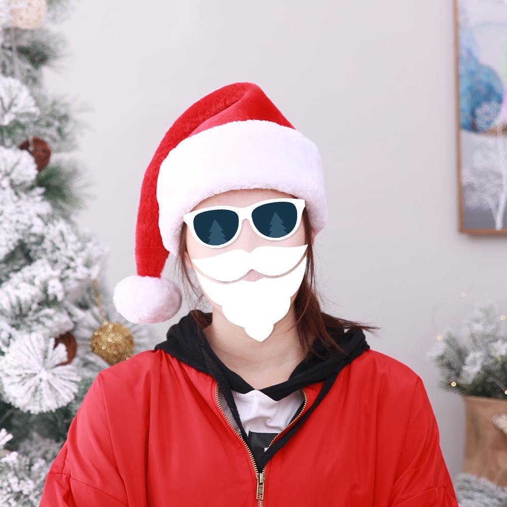 Cadeau exquis Décoration de fête de Noël en peluche courte Santa chapeaux Épaissir Big Ball Santa Claus Dress Up Hat SD495
