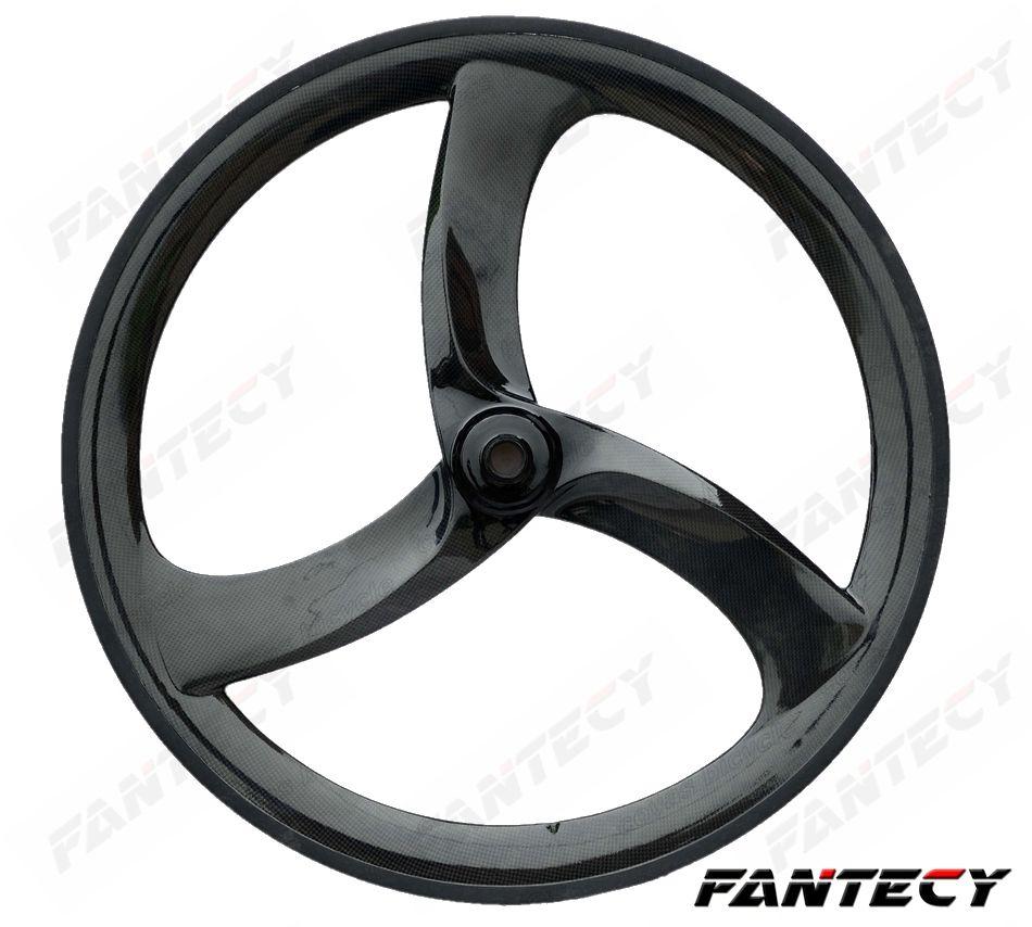 700C ثلاثي الأضلاع عجلات الكربون 56MM الفاصلة الثابتة والعتاد 3-قال المتحدث تصميم فريد من نوعه لوقت / المسار / Roadl سباق الدراجات الكربون wheelet