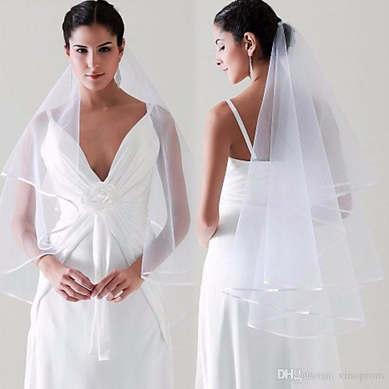 Simple Tulle Wedding Veils Two Layer Ribbon Edge Accessori da sposa Bianco Avorio Velo da sposa ACCESSORI VELO