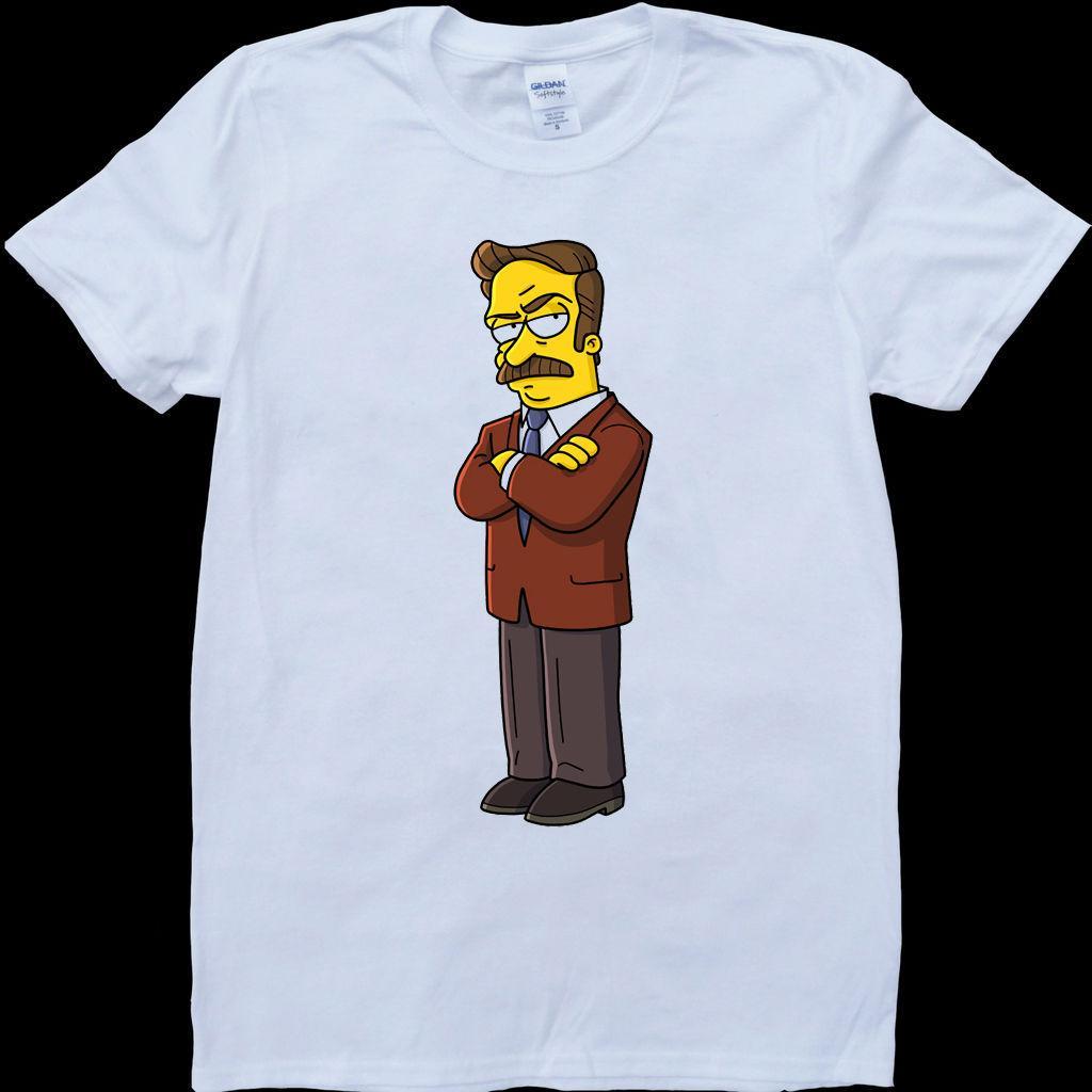 Ron Swanson Parcs Et Loisirs Bande Dessinée Hommes Blancs, T-shirt Sur Mesure Cool Décontracté Fierté T-shirt Hommes Unisexe Nouveau Mode