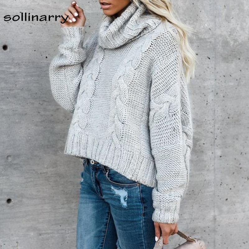 Sollinarry Full Sleeve Thick Needles Street Fashion Sweater Winter Jumper Computer Knitted Turtleneck Women Casual Sweater