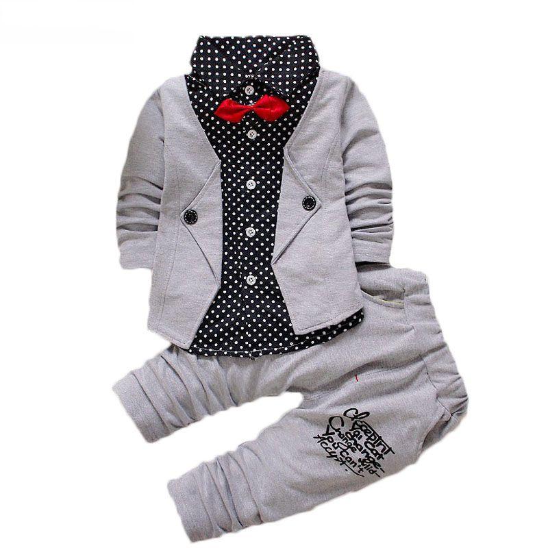Baby Boys Otoño Casual Ropa Set Baby Niños Botón Botón Arco Ropa Conjuntos Babe Chaqueta + Juego de traje de 2 piezas de Pantalón