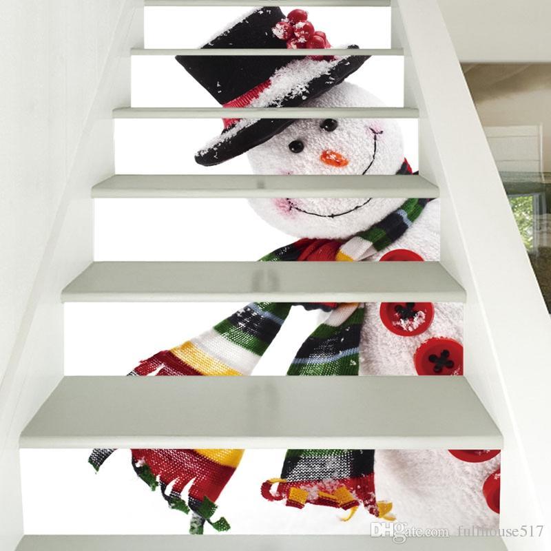 Creativa decoración de la pared auto adhesivo impermeable Escaleras Pegatinas del muñeco de nieve creativa steps Conjunto cartel Combinación