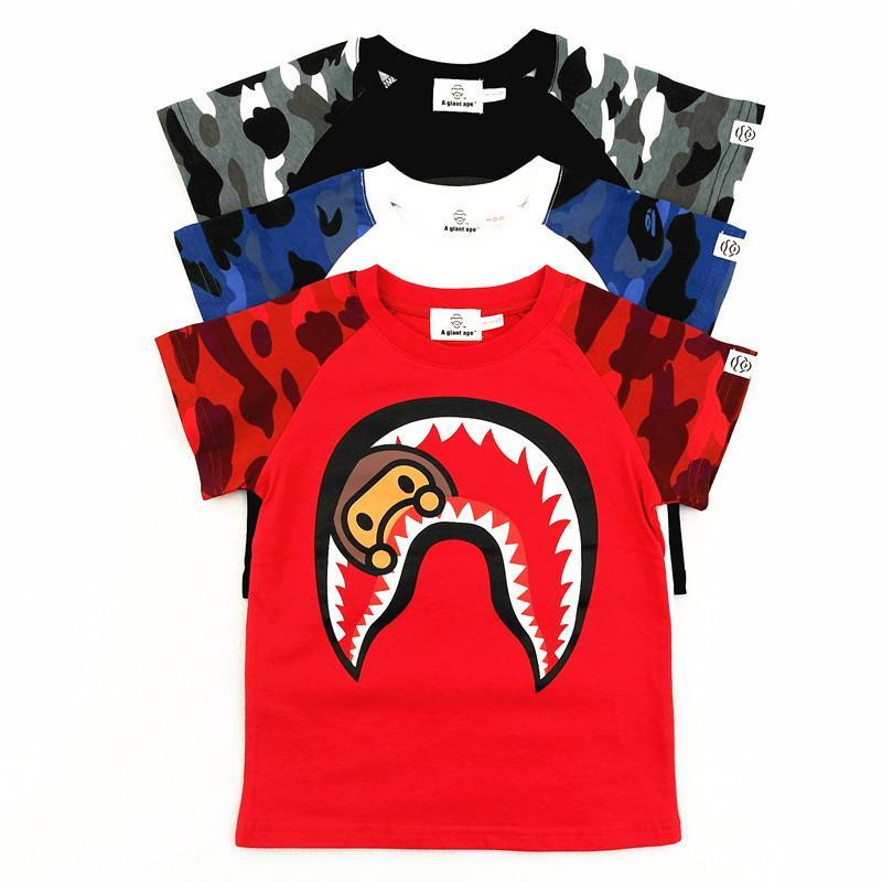 Manica corta bambino T-shirt di Qualità Superiore Del Cotone Pieno Dei Bambini Del Fumetto di Estate Nuovo Modello T Shirt Stampa di modo
