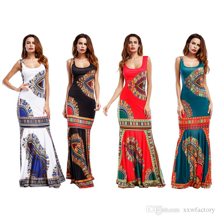 Beach Dress Swimsuit Cover Up Kaftan Ladies Vestidos de playa Estilo étnico retro Print Sin mangas largas Otoño Invierno New Stripe Skirt