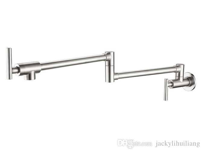 """Free shipping brass brushed nickel in Wall Mounted 1/2"""" Pot Filler Folding 2 Handles Single only Cold Kitchen Faucet water cold Tap SF977"""