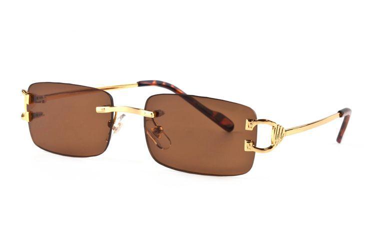 Nova 2019 Fashion Square Pilot sem aro dos óculos de sol das mulheres dos homens Super Light metal do esporte da forma dos homens dos óculos de sol com caixa UV400