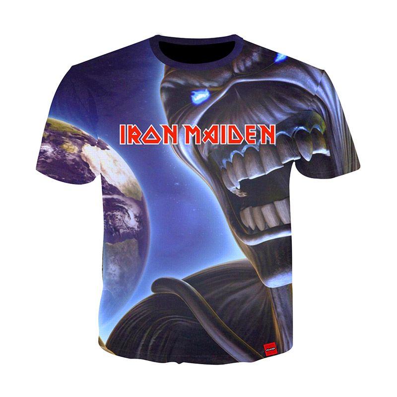 Camisa de soltera de hierro Camiseta de la banda Banda de música Camiseta de cráneo Tops góticos Ropa de rock Punk Impresión en 3D Camisetas Parejas 10 Estilos