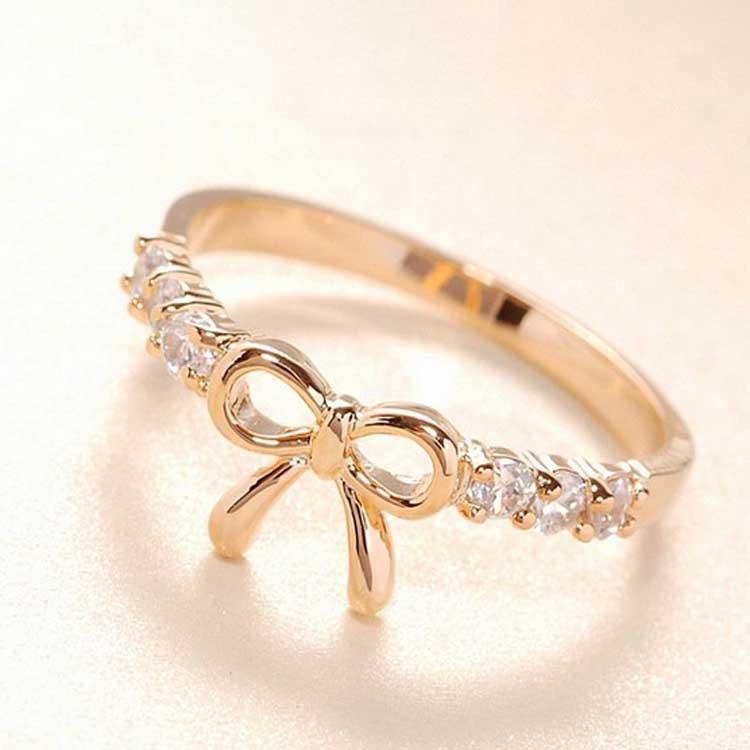 En gros de nouveaux anneaux, les femmes court, fabricants de bague d'arc doublé de diamant vente directe