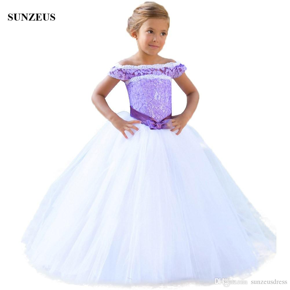 الكرة ثوب منتفخ الأبيض زهرة فتاة باللباس مع الدانتيل الأرجواني طويل الأطفال حزب أثواب الزفاف الاطفال زهرة فتاة باللباس