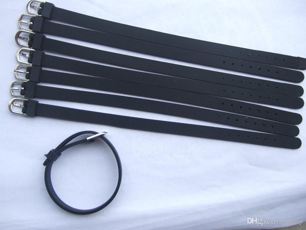 Czarny silikonowy nadgarstek DIY Akcesoria Fit 8mm Slider List Charms Bransoletka Fine Jewelry