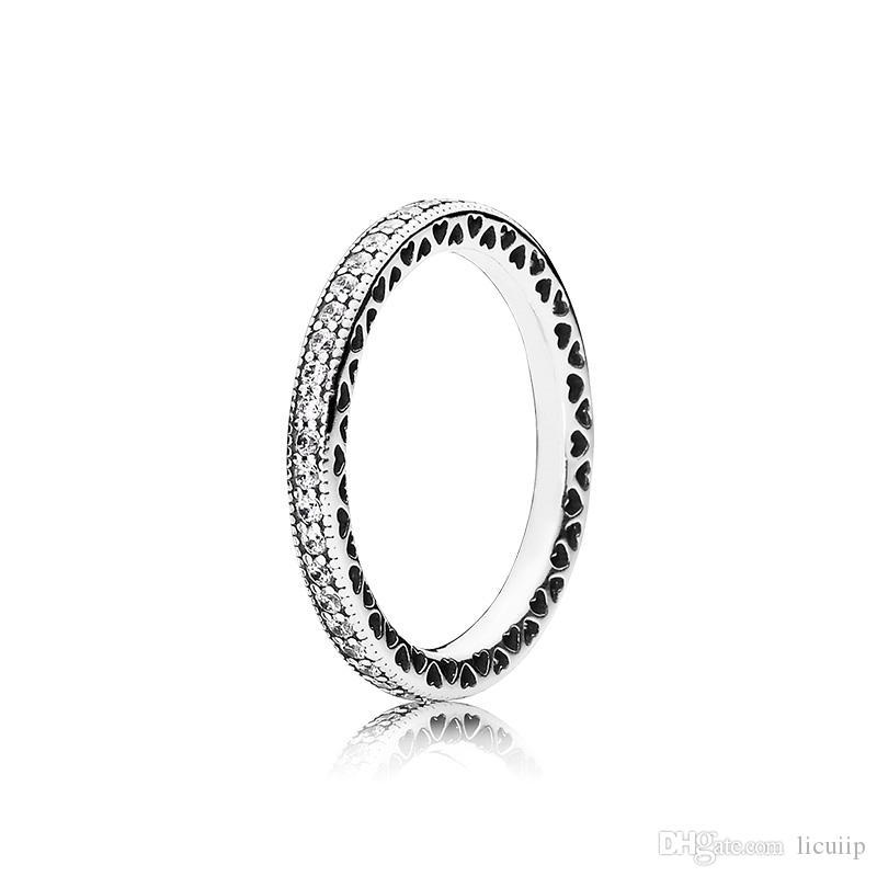 حقيقي خاتم فضة للمرأة الماس مع المربع الأصلي صالح باندورا ستايل سحر 925 الفضة الاسترليني عصابة هدية عيد الحب
