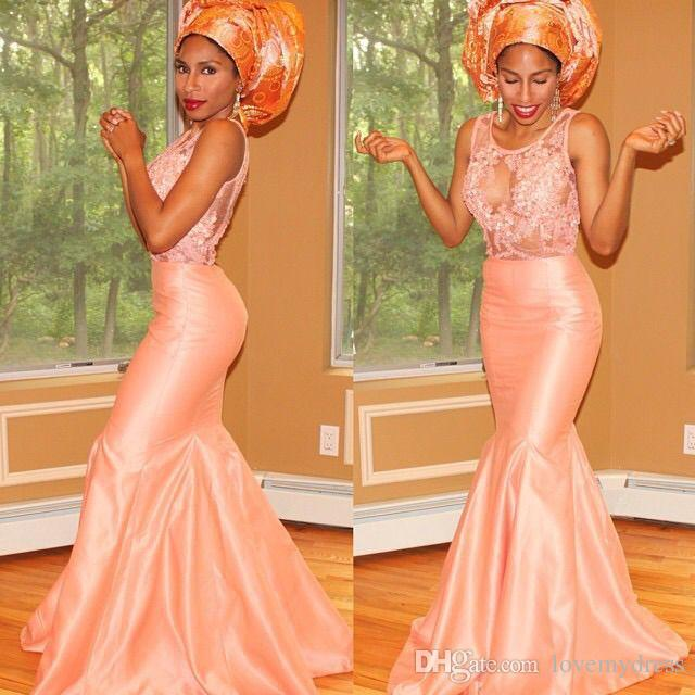 2021 African Lace Mermaid Evening Dresses Sheer Neck Applique Taffeta Peach Pink Hollow Back Hollow Back Formal pageant Dress Gown Cheap