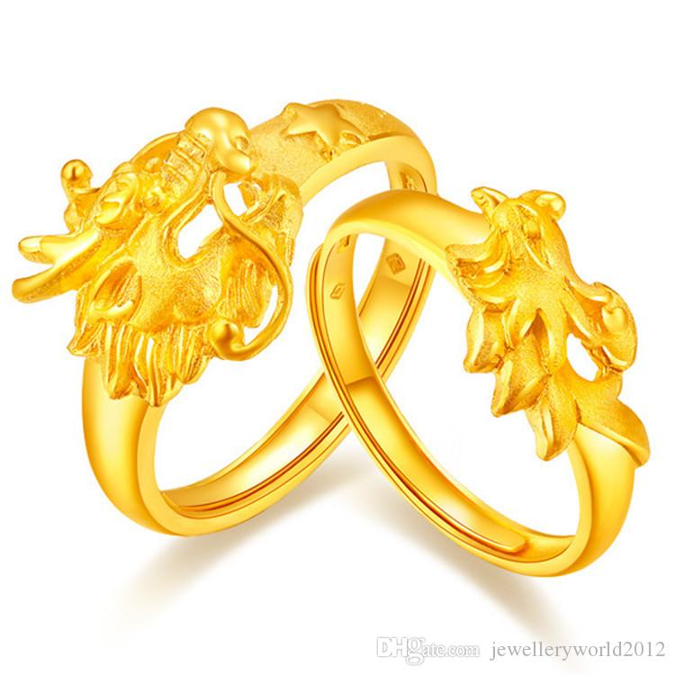 Brass and gold ring for men and women with opp bag lovers ring Dragon and phoenix gold wedding ring