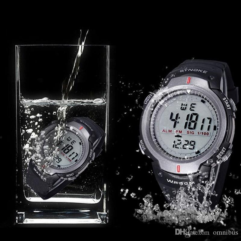 2018 Saatler Erkekler 30 M Su Geçirmez Elektronik LED Dijital İzle Erkekler Açık Erkek Spor Bilek Saatler Kronometre Relojes Hombre