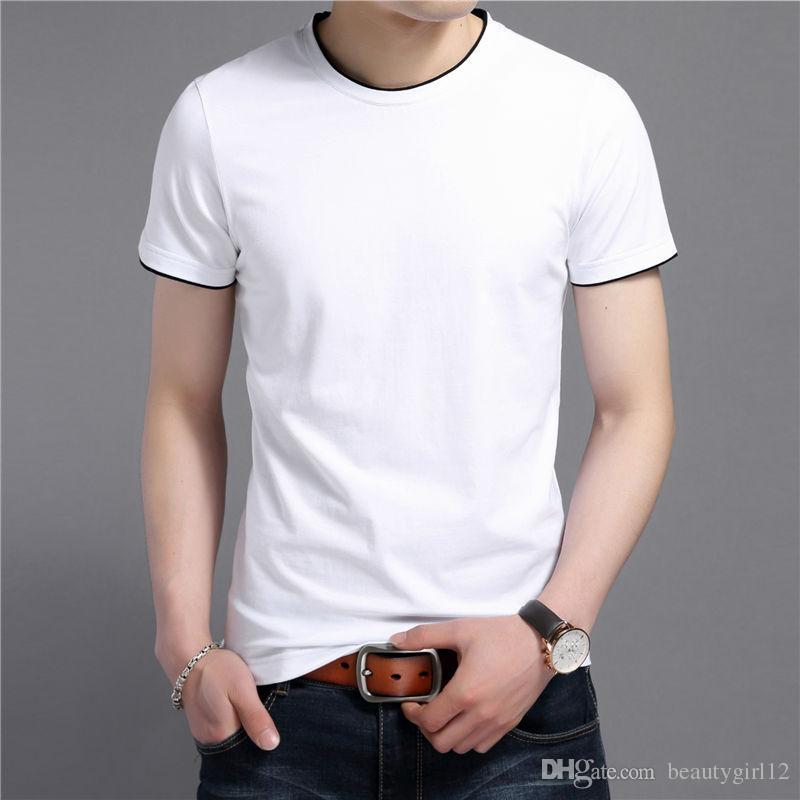 2018 Summer New Short Sleeve T-Shirt Men 100% Pure Cotton T Shirt Men Casual O-Neck Slim Fit Tee Shirt Brand Tops