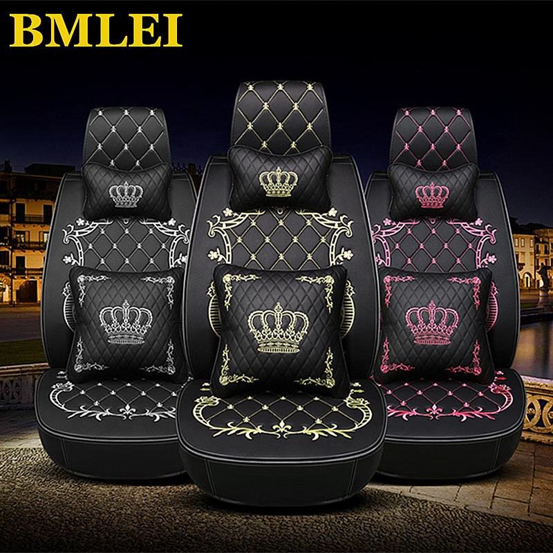 Leather Front Back Car Seat Cover Set Crown Auto Interior Seat