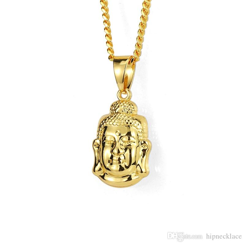 Fashion Mens Ice Out Small Buddha Pendant Necklace 60cm Long Chain Rock Micro Hip Hop Men Jewelry Golden Silver Necklace For Men