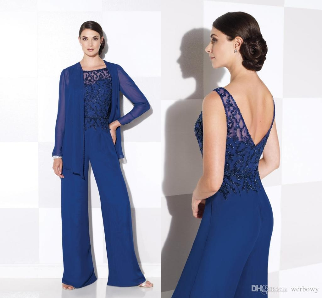 Royal Blue Mother Of The Bride Pant Suits With Long Sleeve Jackets Two Pieces Formal Dresses Jewel Neck Sequined Wedding Guest Dresse DH1120