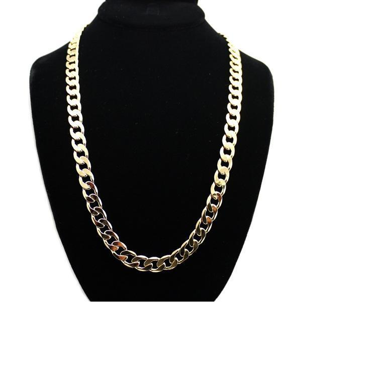 Hot sell simple gold silver plated chains necklace high quality best price factory direct wholesale hip-hop rap style long chain necklace