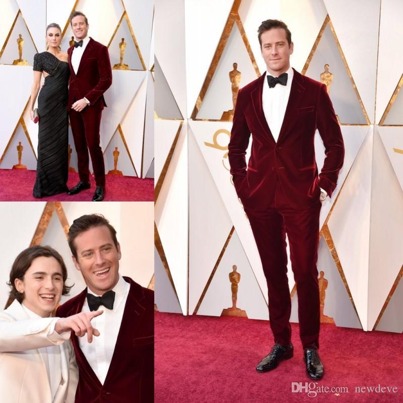 123bd43b 2019 Burgundy Wedding Tuxedos Men Prom Suits Custom Made Groom Wear Velvet  Two Pieces Groomsmen Best Man Suits Formal Business Wear Custom Suits Linen  ...