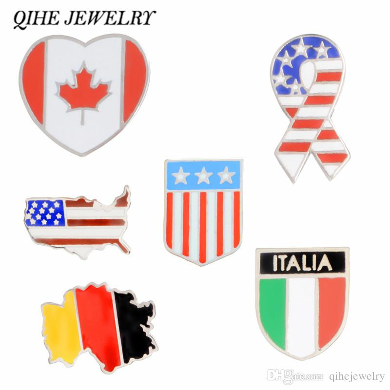 QIHE SIERADEN Duitsland Kanada İtalya Amerika Vlag Kaart Emaille iğneler Broches Rozetler Revers pin Broches voor mannen vrouwen