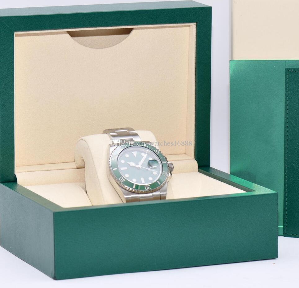 Movimiento automático de alta calidad Reloj esfera verde y bisel de cerámica 40 MM 116610LV Relojes para hombre Relojes de acero inoxidable para hombres Caja original