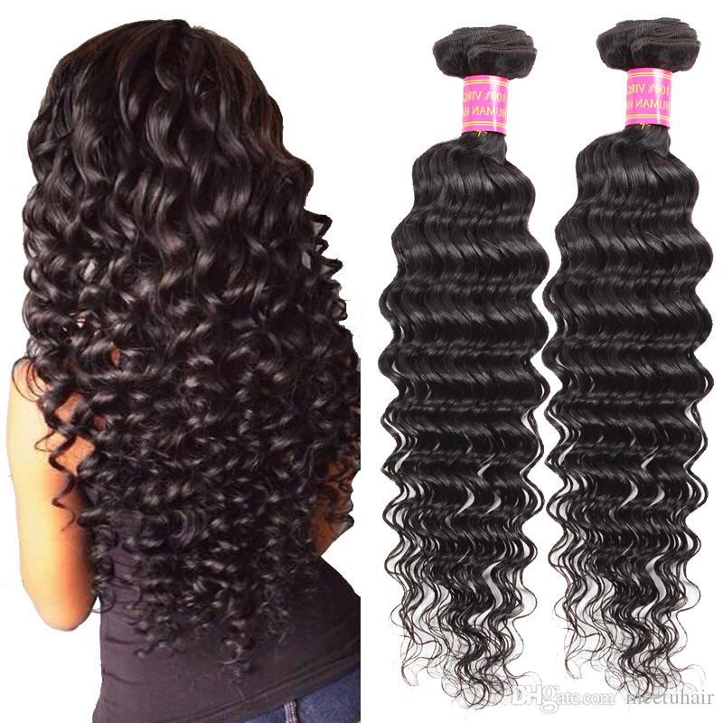 El pelo humano brasileño profundo de la onda 8A al por mayor barato Bundles la onda profunda india sin procesar 2 del paquete 8 los paquetes humanos peruanos del pelo humano teje 8-28inch