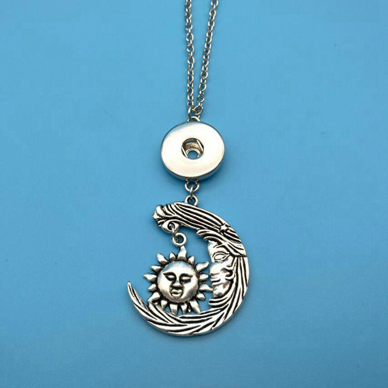 Hot Sale Antique Silver Sun Cross Moon Ball Snap Button Charm Pendant 18mm Covered Button Necklace Women Jewelry Best Friend Gift H509