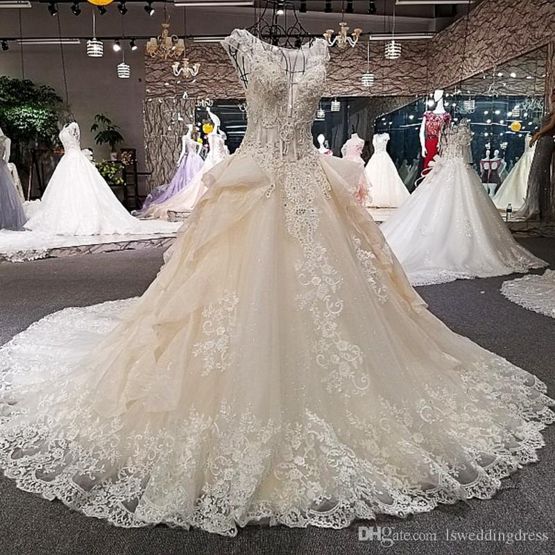 LS00260 See Through Back Wedding Dresses Cap Sleeve Lace Ball Gown Cathedral Train Beading Real Photo Dresses Women Wedding