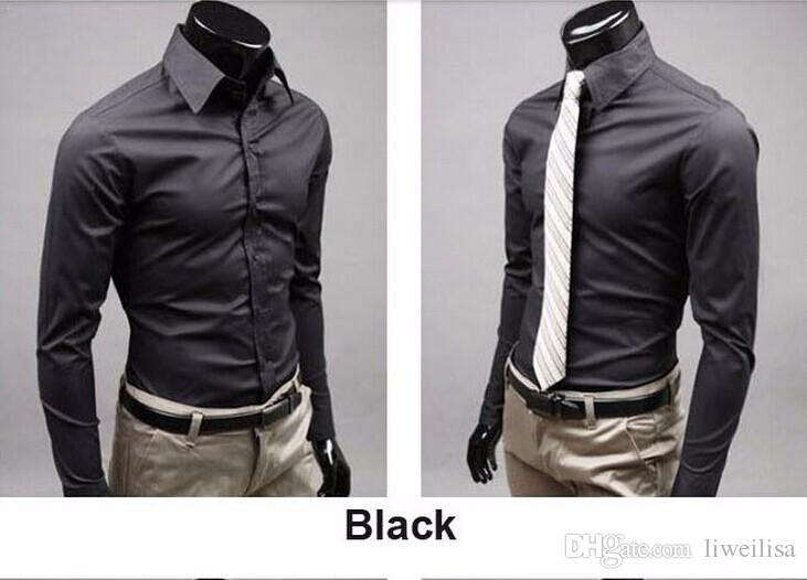 office Men solid black color long-sleeved shirt wild evening dress shirt cotton high-quality long-sleeved shirt 17 color M-XXXL