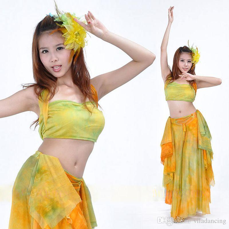 Tanie taniec brzucha Odzież damska Dancewear 2 sztuk stroje dla Dance Belly Top Spódnicy Kostiumy Dziewczyny