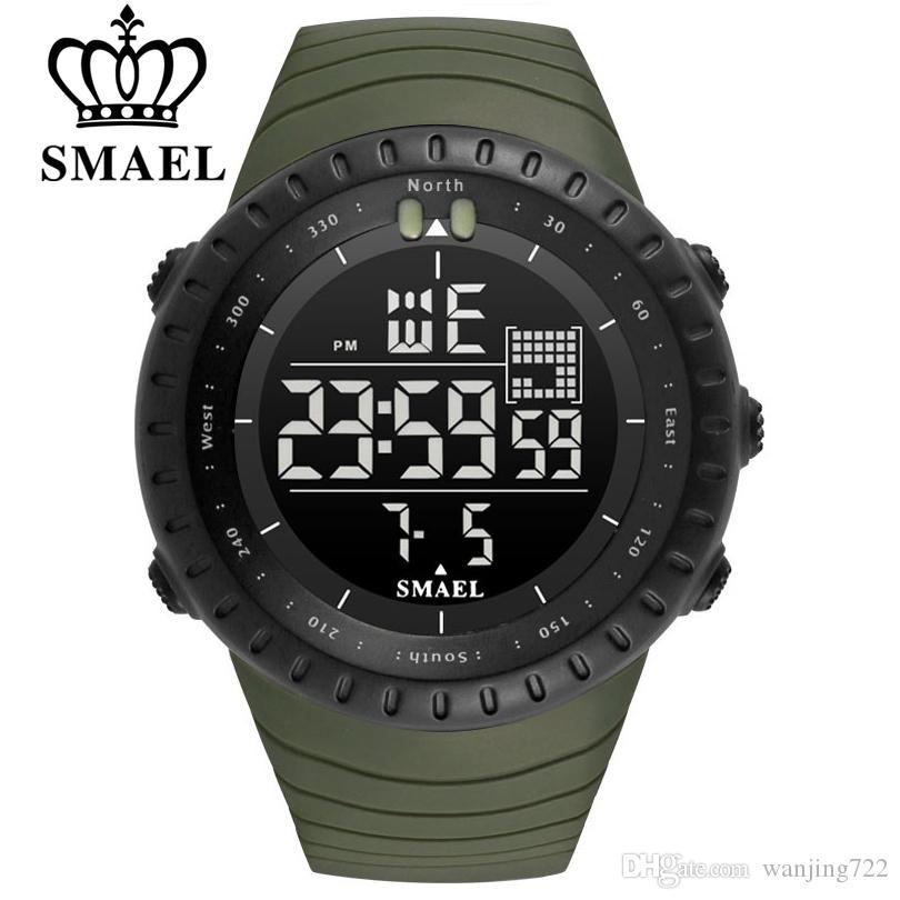SMAEL 야외 스포츠 전자 크로노 그래프 2018 디지털 남성 손목 시계 빅 다이얼 디지털 50M 방수 디지털 LED 손목 시계