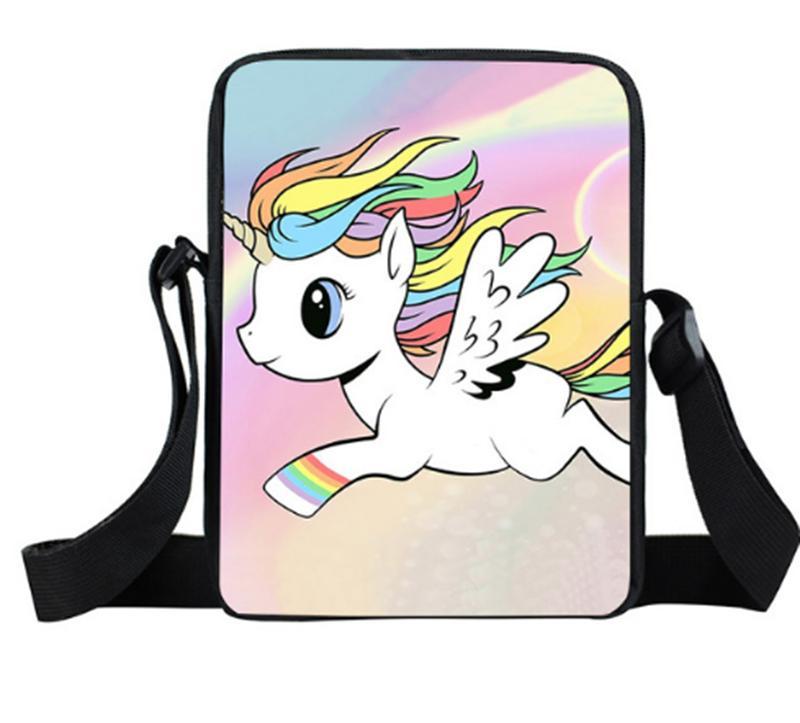 Cartone animato Unicorno Rainbow Horse Mini Cross Girl Ladies Shoulder Bag Kid viaggio portatile per borse snack