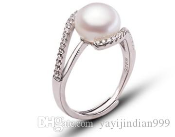 natural pearl crystal jewelry storne rose flower 925 silver diamond lady's ring (26) open size