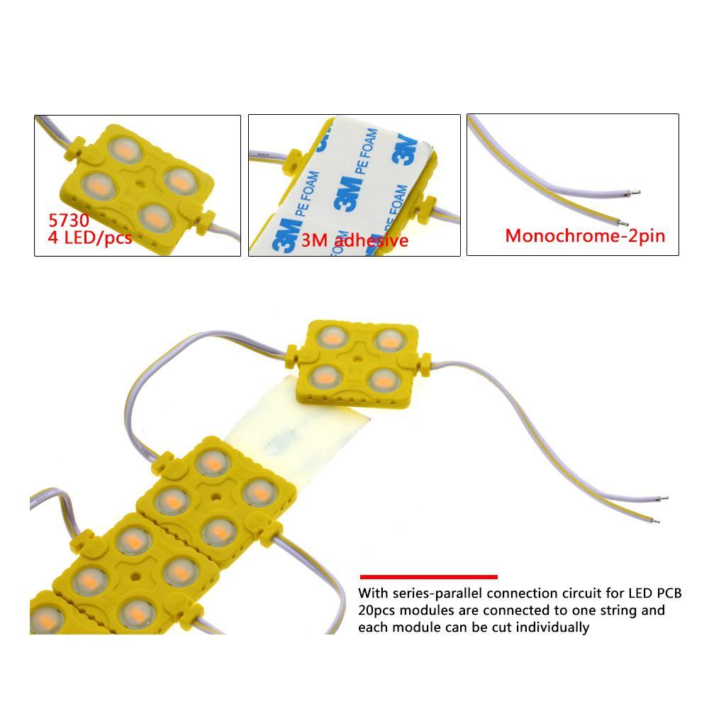 LED 모듈 5730 4LED DC12V 방수 사인 슈퍼 밝은 SMD Led 모듈 화이트 / 따뜻한 화이트 / 블루 / 레드 / 그린 20Pcs / Lot