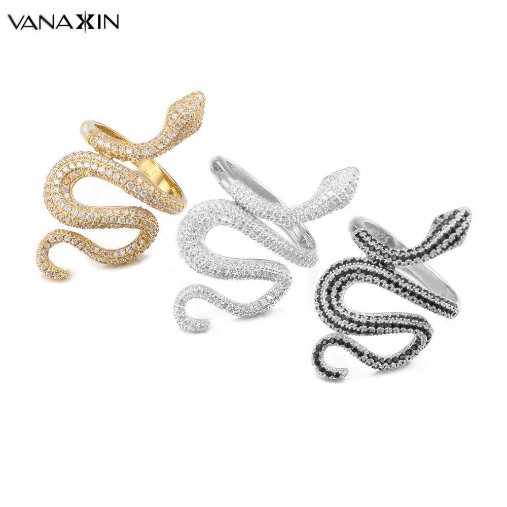 Vanaxin cobra moda anéis para as mulheres do punk rock 925 jóias anel de prata cz zircões pavimentadas brilhante presente do partido animal atacado jóia d18111306
