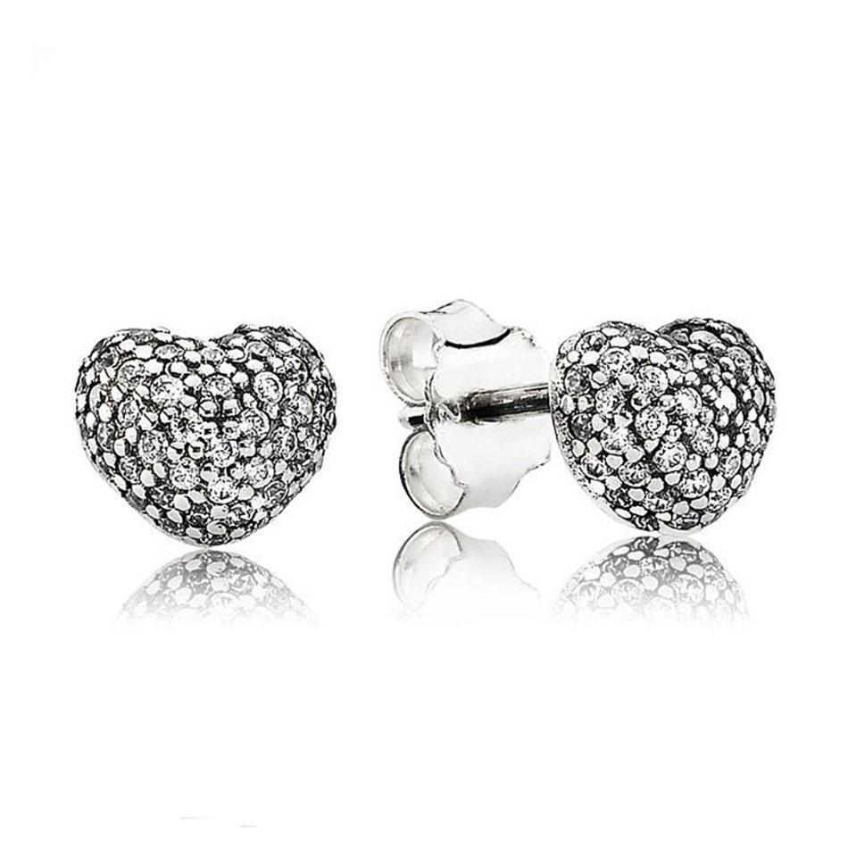 Authentic 925 Brinco de Prata em meu coração com cristal Brincos para as mulheres do presente de casamento Partido encaixar senhora Jóia