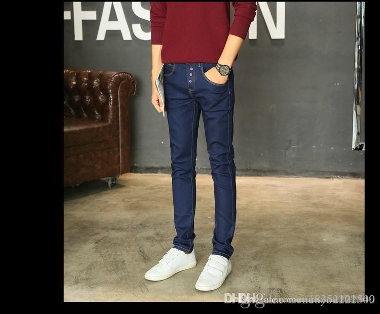Nova Azul 2018 versão coreana do jeans casual, pés pequenos, listras casa de moda, multi-bolso tingido fabricante calça jeans vendas diretas