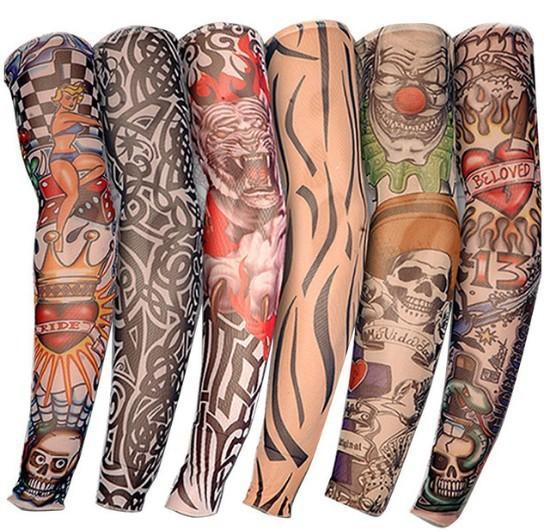 Tatuaje Manga Hombre Mujer Falso Tatuaje Brazo Calentadores Elástico Protección UV Impreso a prueba de sol Unisex Punk Fashion 2018