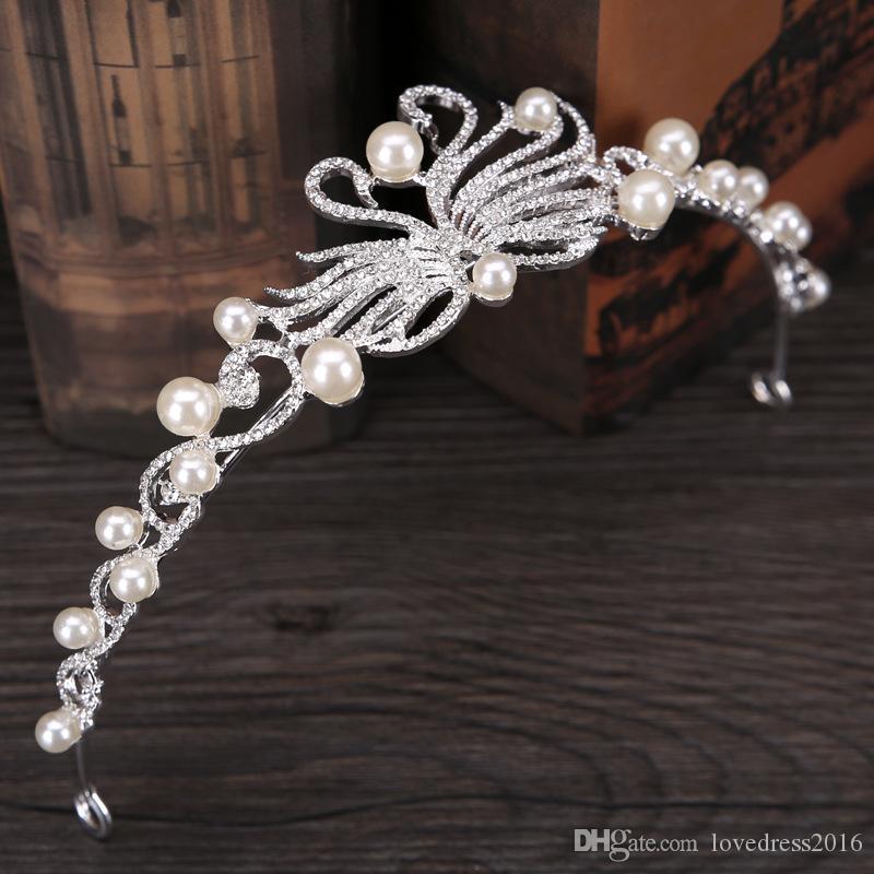 Nuovi copricapo da sposa Perle Swan Corona da sposa Accessori per capelli Copricapo da donna Ornamenti per diademi Vendita calda