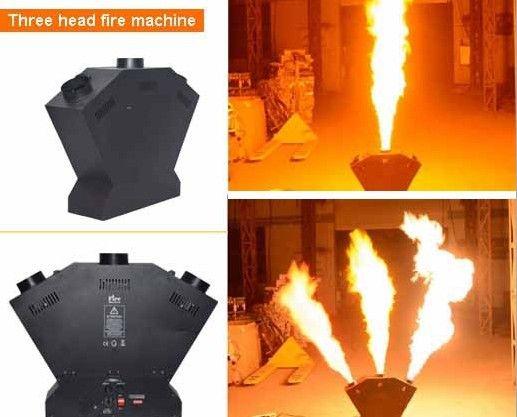 3 головы пожарные машины Triple Flame Machine DMX Control Flame Projector для свадебных вечеринок Этап диско-эффекты LLFA