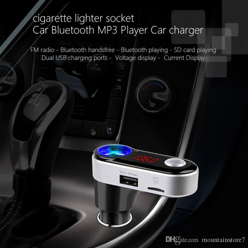 Trasmettitore FM wireless, Car Mp3 Player, Vivavoce Bluetooth Car Kit, Accendisigari, Caricabatterie Dual USB per Iphone Android