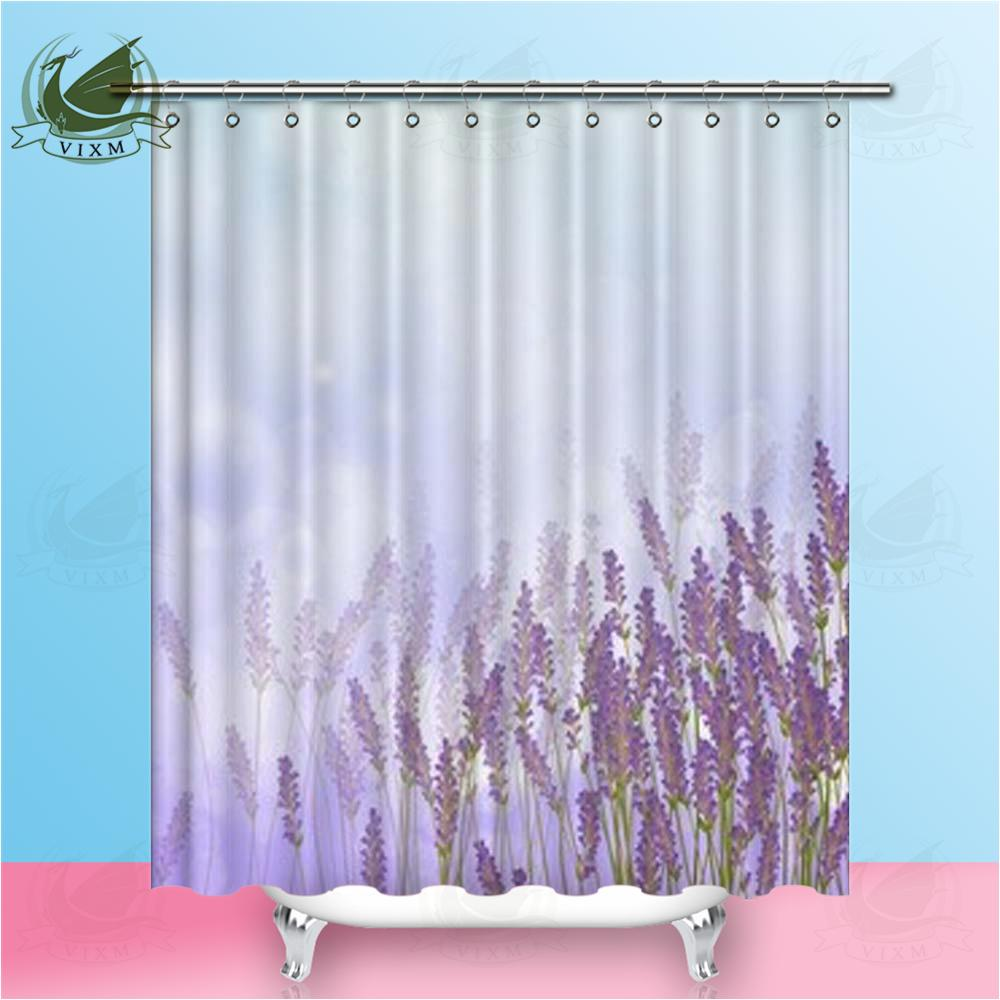 """Vixm Home Nature Lavender Fabric Shower Curtain Lavender Peony Bath Curtain For Bathroom With Hook Rings 72"""" X 72"""""""